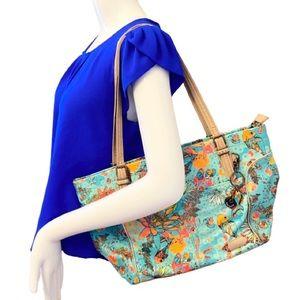 Sakroots Blue Koi Fish Floral Bag